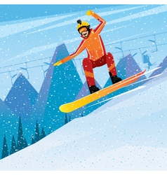 Descent from the mountain on a snowboard vector