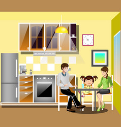Family at table in kitchen vector