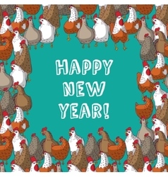 Frame color chicken border new year greeting card vector