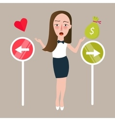 Girl select between love or money direction vector