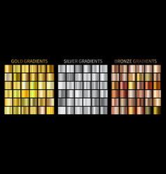 gold silver bronze gradients vector image
