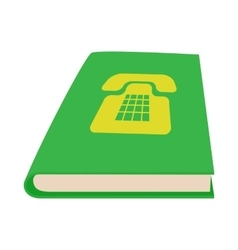 Green phone book icon cartoon style vector image