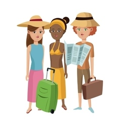 Group girl friends tourist traveler vector