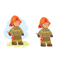 icons of small child firefighter and his vector image vector image