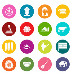 India travel icons many colors set vector
