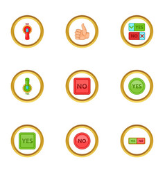interface button icons set cartoon style vector image vector image