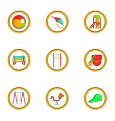 Kid playground icon set cartoon style vector
