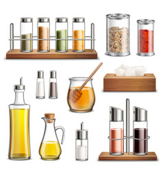 Kitchen herbs spices realistic set vector