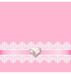 lace fabric background and pearl heart vector image vector image
