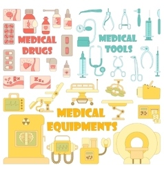 Medical tools equipment icons set cartoon style vector