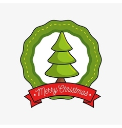 Merry christmas label with tree icon vector