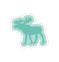 Paper sticker on white background arctic moose vector