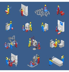 Plumber isometric people icon set vector