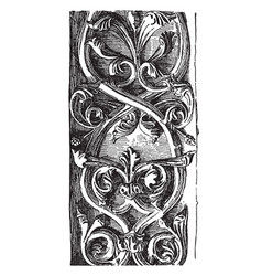 Rinceau carved double from notre dame vintage vector