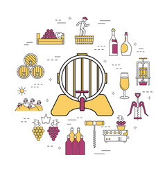 round linear concept of barrel of wine vector image vector image