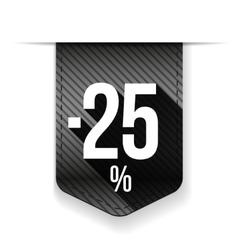 Sale twenty five percent off banner grey ribon vector
