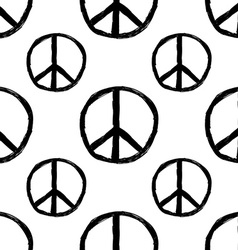 Seamless pattern from Peace sign Hippie symbol of vector image