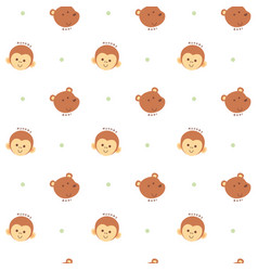 Seamless pattern monkey and bear vector