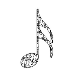 Semiquaver note monochrome silhouette formed by vector