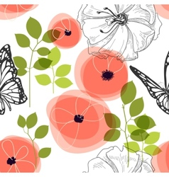 Spring seamless pattern flowers and butterfly vector image