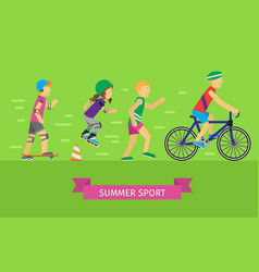 summer sport concept in flat design vector image vector image