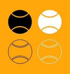 tennis ball set black and white icon vector image vector image