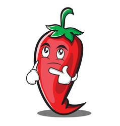 Thinking red chili character cartoon vector