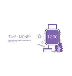 time is money business concept template web banner vector image