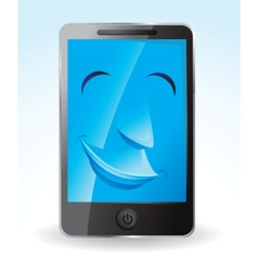 Touch screen phone smiling vector
