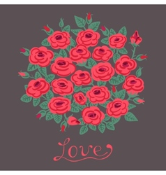 Vintage card with a bouquet of roses vector image vector image