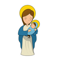 virgin mary holding baby jesus cartoon vector image