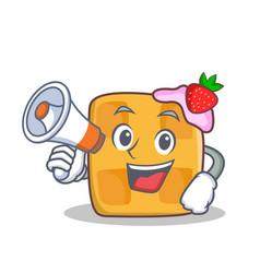 Waffle character cartoon design with megaphone vector