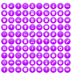 100 confectionery icons set purple vector