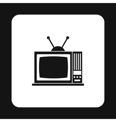 Retro TV icon in simple style vector image
