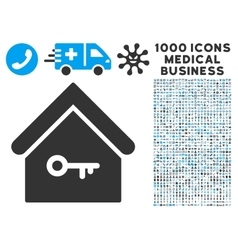Home key icon with 1000 medical business symbols vector