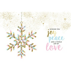 Christmas and new year gold snow decoration design vector image