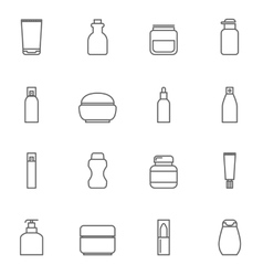 Cosmetic package line icons Bottle tube spray vector image