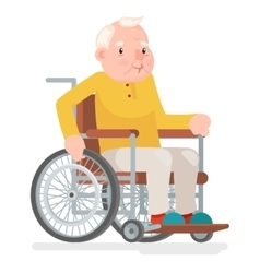 Wheelchair old man character sit adult icon vector