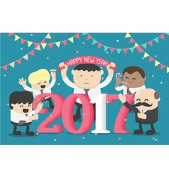 Group of Business celebrating New Year happy vector image