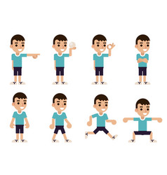 Boy in different poses and actions characters vector