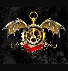 clock with dragon wings vector image