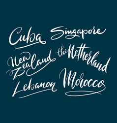 Singapore and lebanon hand written typography vector