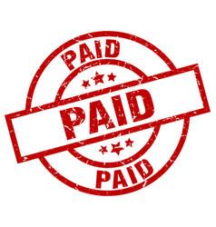 Paid round red grunge stamp vector