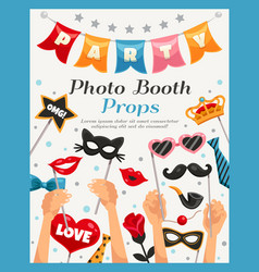 photo booth party props poster vector image