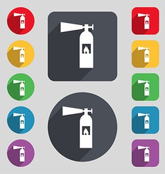 Fire extinguisher icon sign a set of 12 colored vector