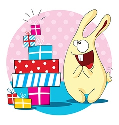 Cartoon bunny with a lot of presents vector