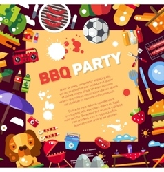 Invitation template of flat design barbecue vector