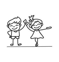 Hand drawings cartoon happy kid happiness concept vector