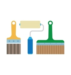 Work tools - paint brush and roller vector