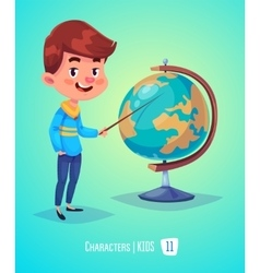 Cute boy with globe back to school vector